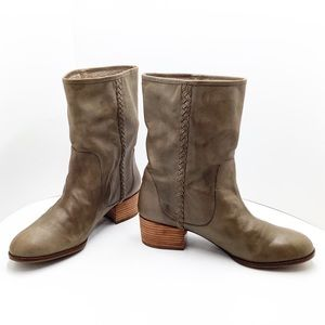 {Banana Republic} Olive Green Leather Ankle Boots